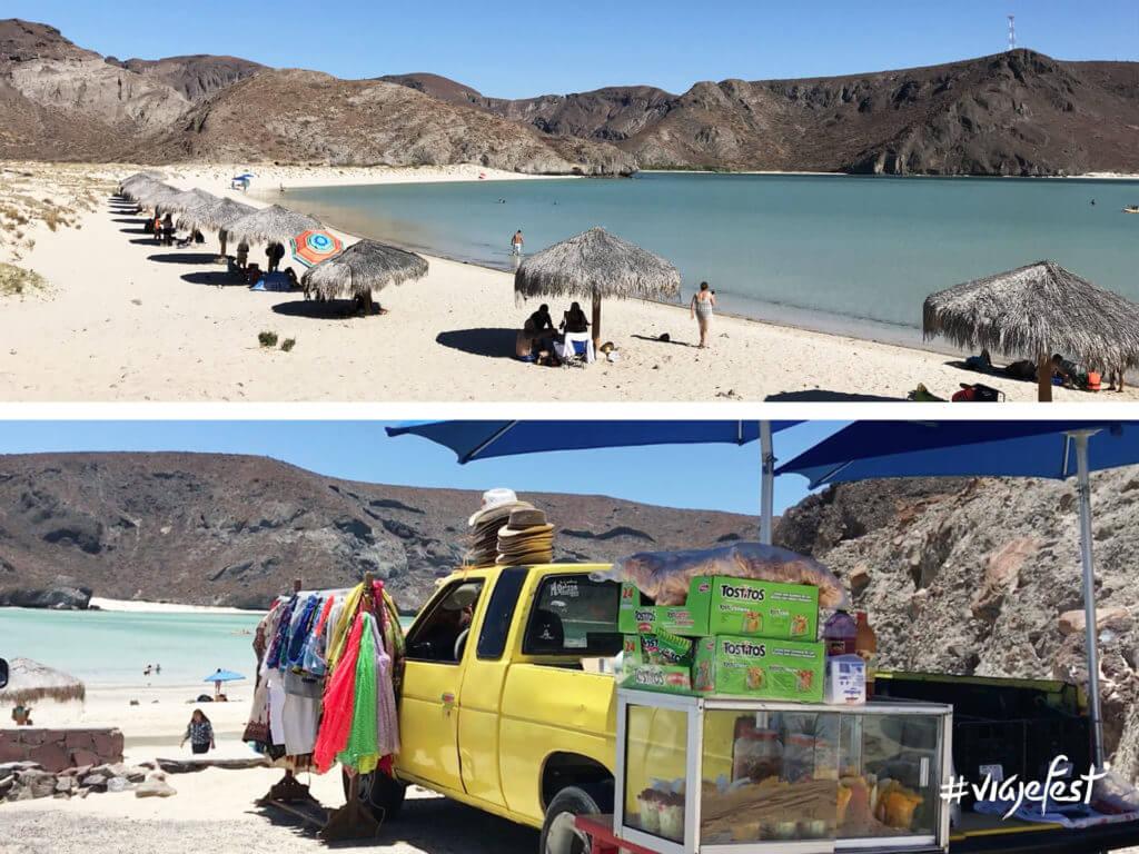 Playa Balandra en Baja California Sur, no hay tiendas ni restaurantes