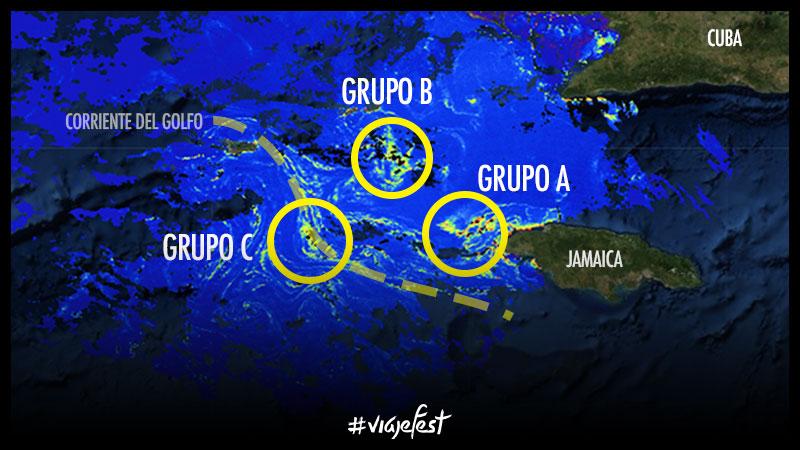 Grupos de balsas de sargazo al oeste de Jamaica