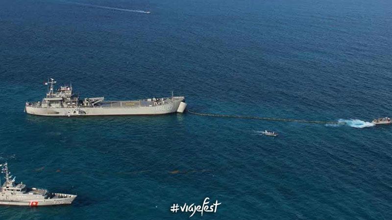 Marina mexicana deteniendo al sargazo