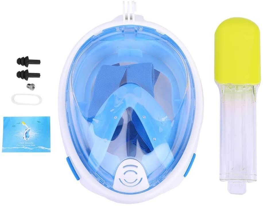 La máscara de snorkel incluye accesorio para colocar la cámara de acción