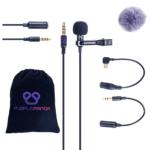 Micrófono de solapa y accesorios incluidos